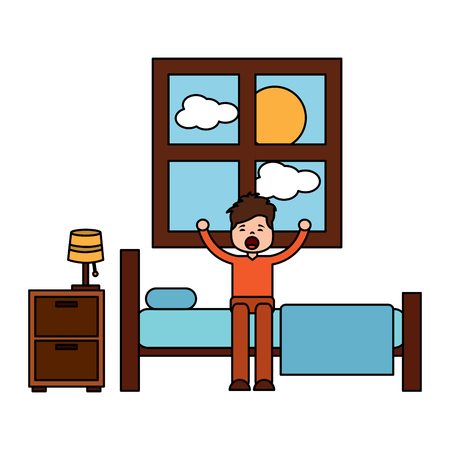 child boy sleeping in their room icon image vector illustration design  일러스트