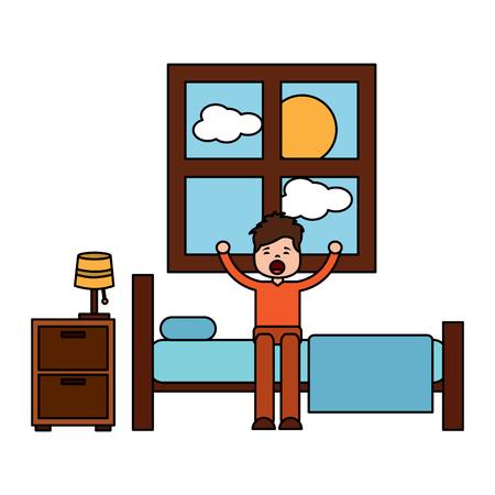 Niño niño durmiendo en su habitación icono ilustración vectorial de diseño Foto de archivo - 96056714