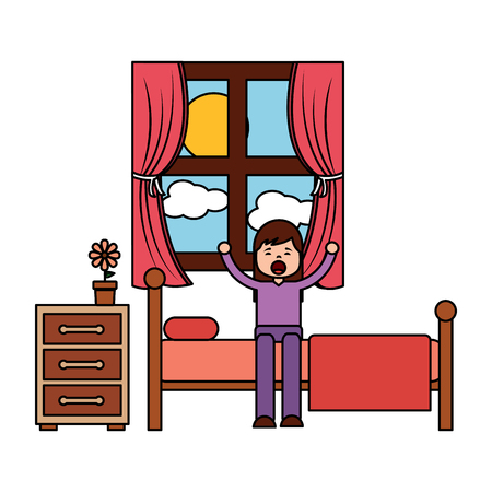 child girl sleeping in their room icon image vector illustration design