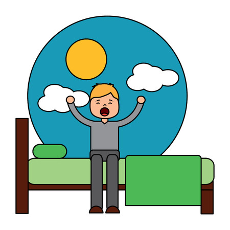 child boy sleeping in their room icon image vector illustration design Stock Vector - 96056718