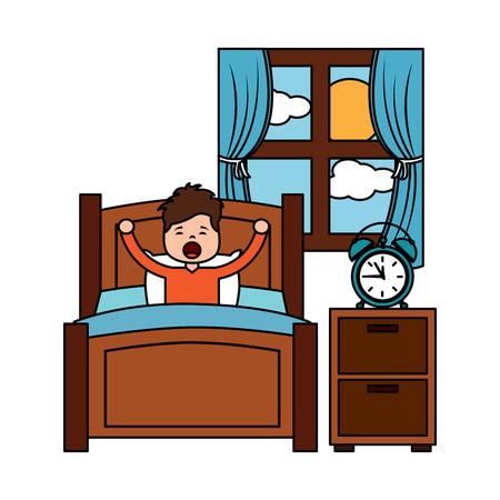 child boy sleeping in their room icon image vector illustration design  Ilustração