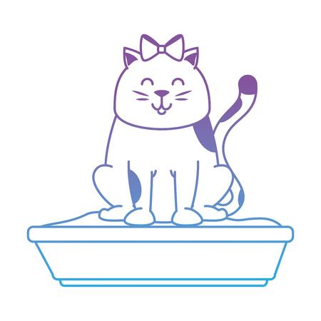 Cute cat mascot with sand box vector illustration design