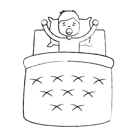 Child boy sleeping in their room icon image vector illustration design black sketch line