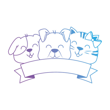 cute dog and cat with ribbon vector illustration design Stock Vector - 96056125