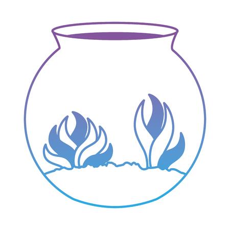 Aquarium bowl with algae vector illustration design Illusztráció