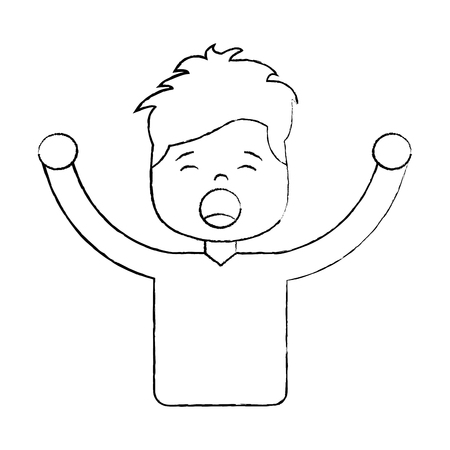 Man screaming icon image vector illustration design black sketch line