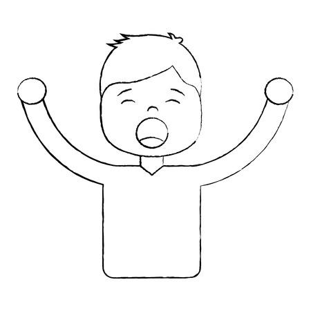 Hombre , grito , icono , ilustración , vector , imagen , negro , diseño , línea Foto de archivo - 96054550