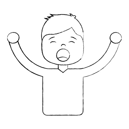 Man screaming icon image vector illustration design black sketch line 写真素材 - 96054550