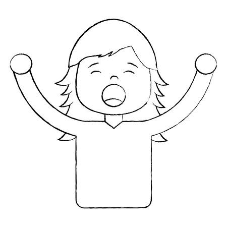女性絶叫アイコン画像ベクトルイラストデザイン黒スケッチライン