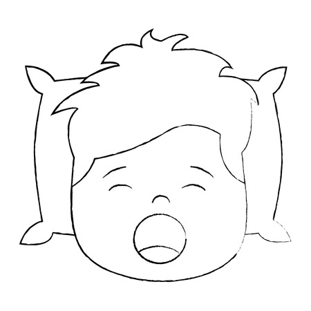 Child boy sleeping on pillow icon image vector illustration design black sketch line