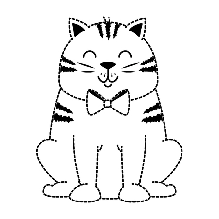 Cute cat mascot character vector illustration design Illustration