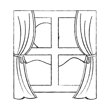 window with curtains daytime icon image vector illustration design.
