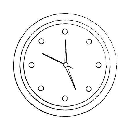 wall clock icon image vector illustration design  black sketch line