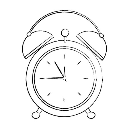 alarm clock icon image vector illustration design  black sketch line