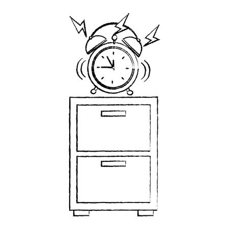 夜のテーブルアイコン画像ベクトルイラストのデザインに鳴る目覚まし時計。 写真素材 - 96056410