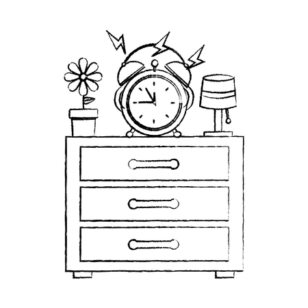 alarm clock ringing on night table icon image vector illustration design  black sketch line Illustration