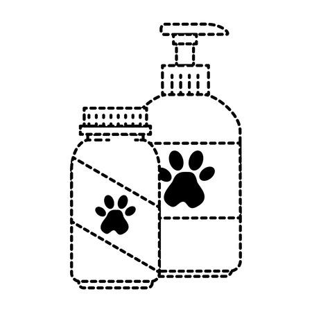 Maskottchen Shampoo und Vitamine Flaschen Symbol Vektor-Illustration Design Standard-Bild - 96056497