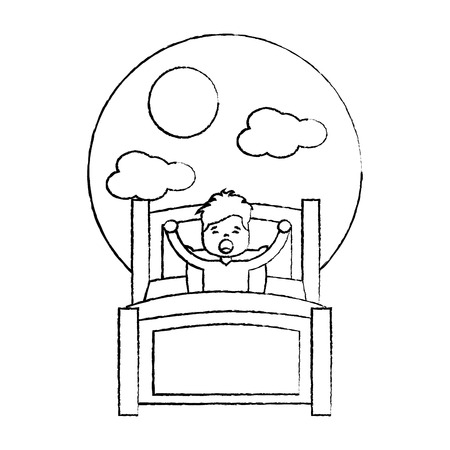 child boy sleeping in their room icon image vector illustration design.