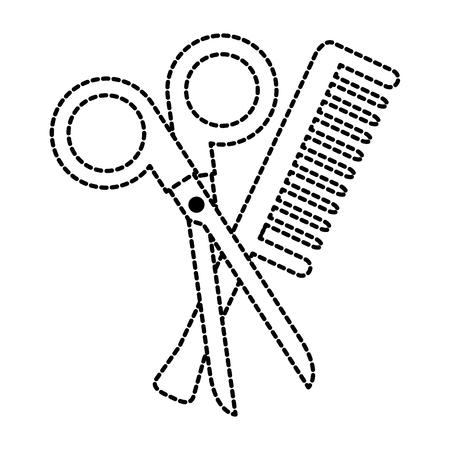 scissors tool with comb vector illustration design Illusztráció