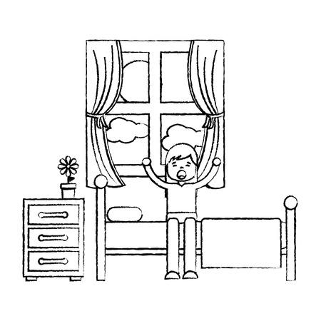 child girl sleeping in their room icon image vector illustration design  black sketch line Illustration