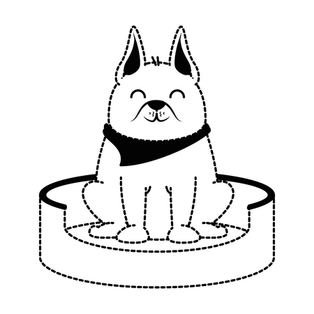 cute dog in the mattress mascot vector illustration design