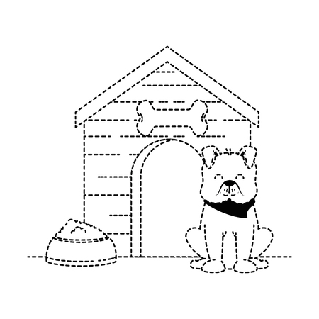 cute dog mascot with wooden house and dish food vector illustration design Illustration