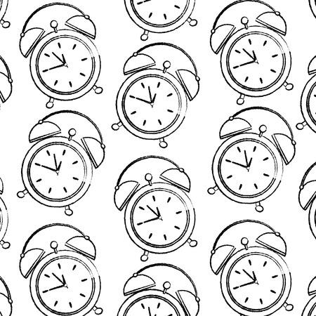 Seamless pattern clock alarm wake up vector illustration sketch design 写真素材 - 96085057
