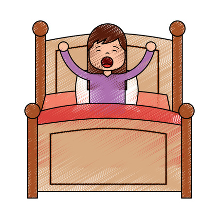 Wake up morning the young girl in bed vector illustration drawing image design