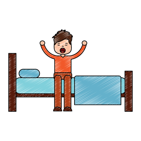 Young man waking up sitting on bed with arms stretched vector illustration drawing image design