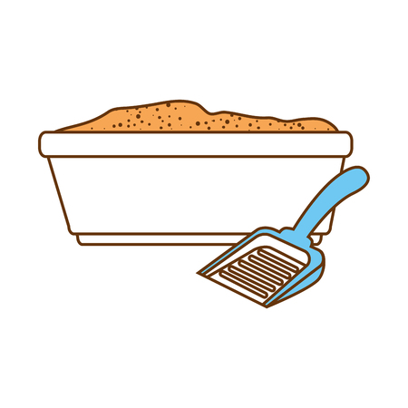 Sandbox cat with shovel vector illustration design