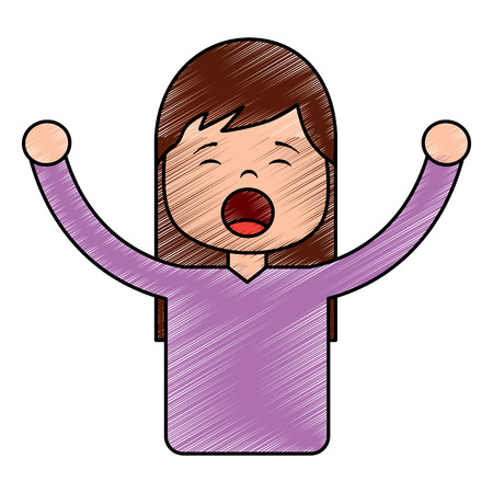 Portrait young girl yawning and arms stretched vector illustration drawing image design Illustration