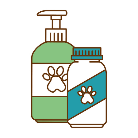 Mascot shampoo and vitamins bottles icon vector illustration design Çizim