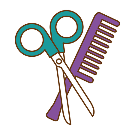 Scissors tool with comb vector illustration design