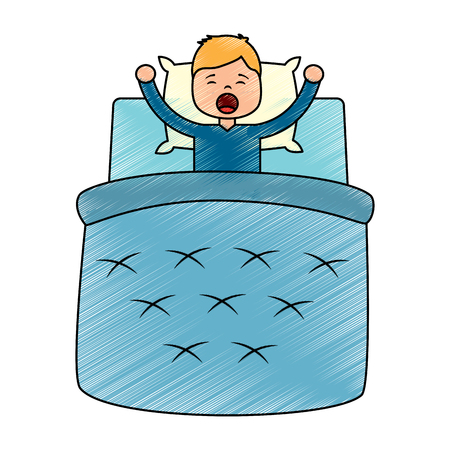 Boy wake up with blanket and pillow vector illustration drawing image design