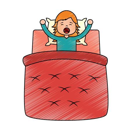 La bambina che sveglia a letto il cuscino e la coperta vector l'illustrazione che disegna la progettazione dell'immagine Archivio Fotografico - 96058371