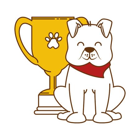 Cute dog with trophy cup mascot vector illustration design Ilustração