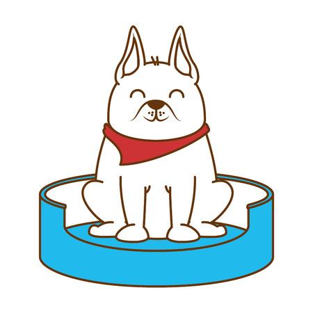 Perro lindo en el diseño de ilustración de vector de mascota de patinaje Foto de archivo - 96058385