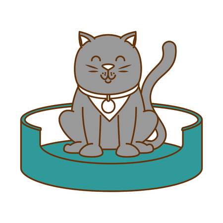 Cute cat in the mattress mascot vector illustration design