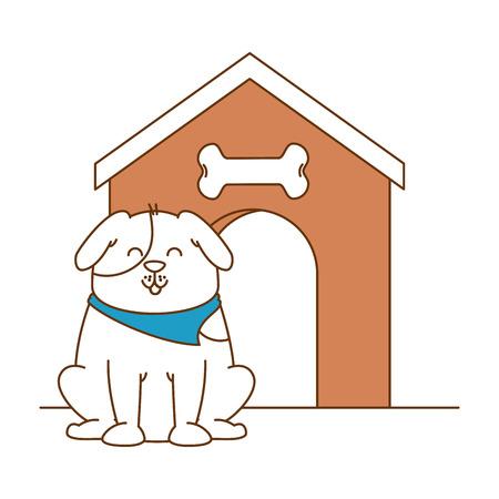 Mascotte de chien mignon avec maison en bois design illustration vectorielle Banque d'images - 96058386