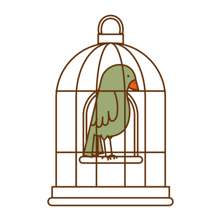 Cute bird in cage vector illustration design