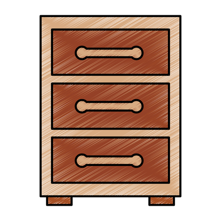 Wooden bedside table drawers furniture vector illustration drawing image design