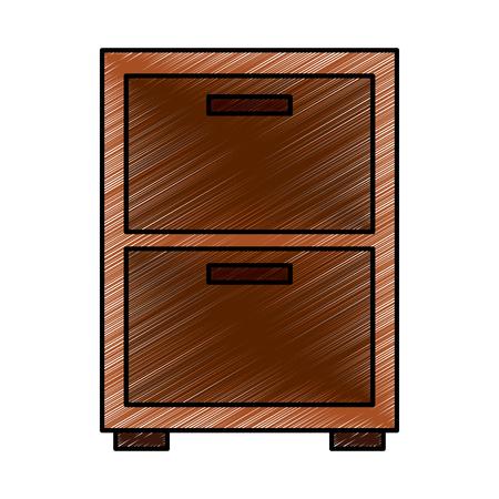 Wooden bedside table drawers furniture vector illustration drawing image design