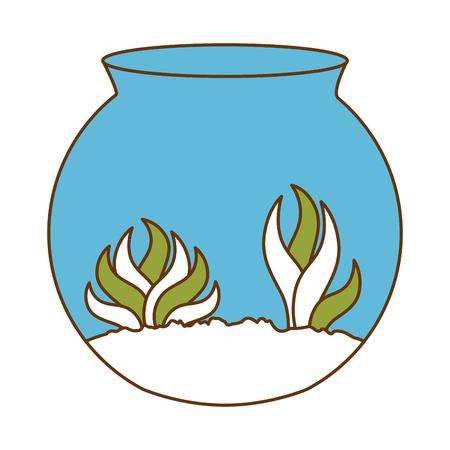 Aquarium bowl with algae vector illustration design Ilustrace