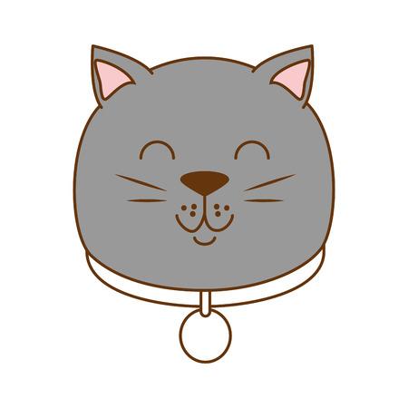 Cute cat head mascot vector illustration design