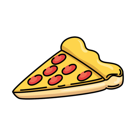 Delicious pizza portion icon vector illustration design