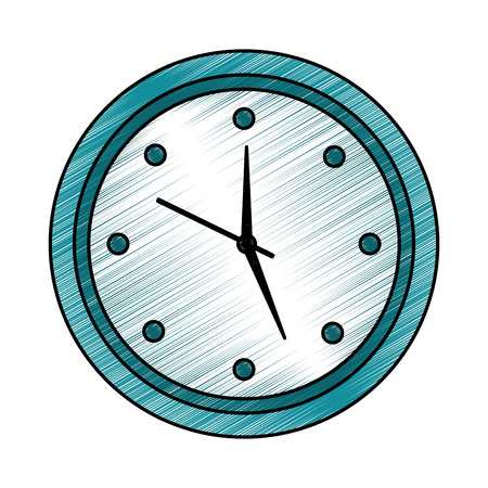 Round clock time hour object icon vector illustration drawing image design