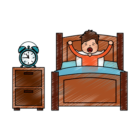 Boy wake up stretching in wooden bed with bedside table clock vector illustration drawing image design