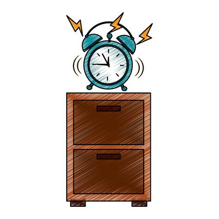hölzernes Nachttischuhr-Alarmringvektorillustrationszeichnungs-Bilddesign