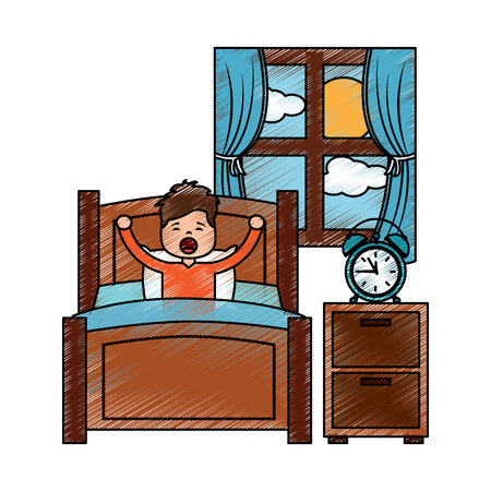 boy wake up stretching in wooden bed room bedside table clock window vector illustration drawing image design
