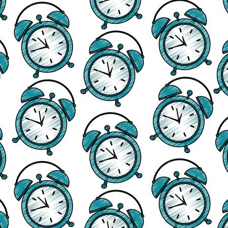 seamless pattern clock alarm wake up vector illustration